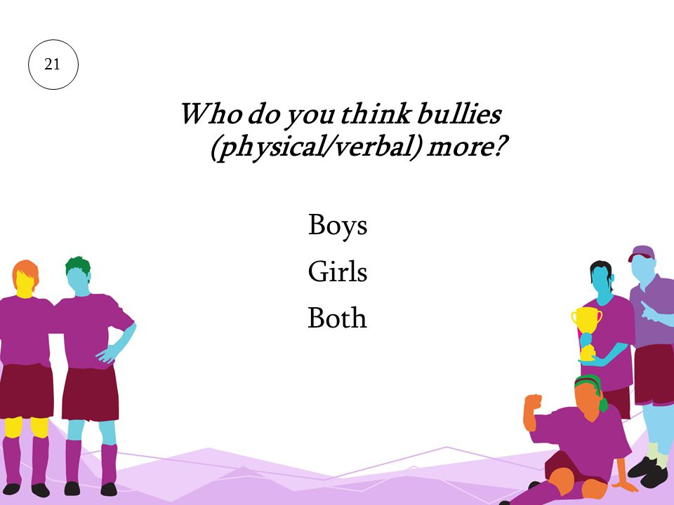Who do you think bullies (physical/verbal) more