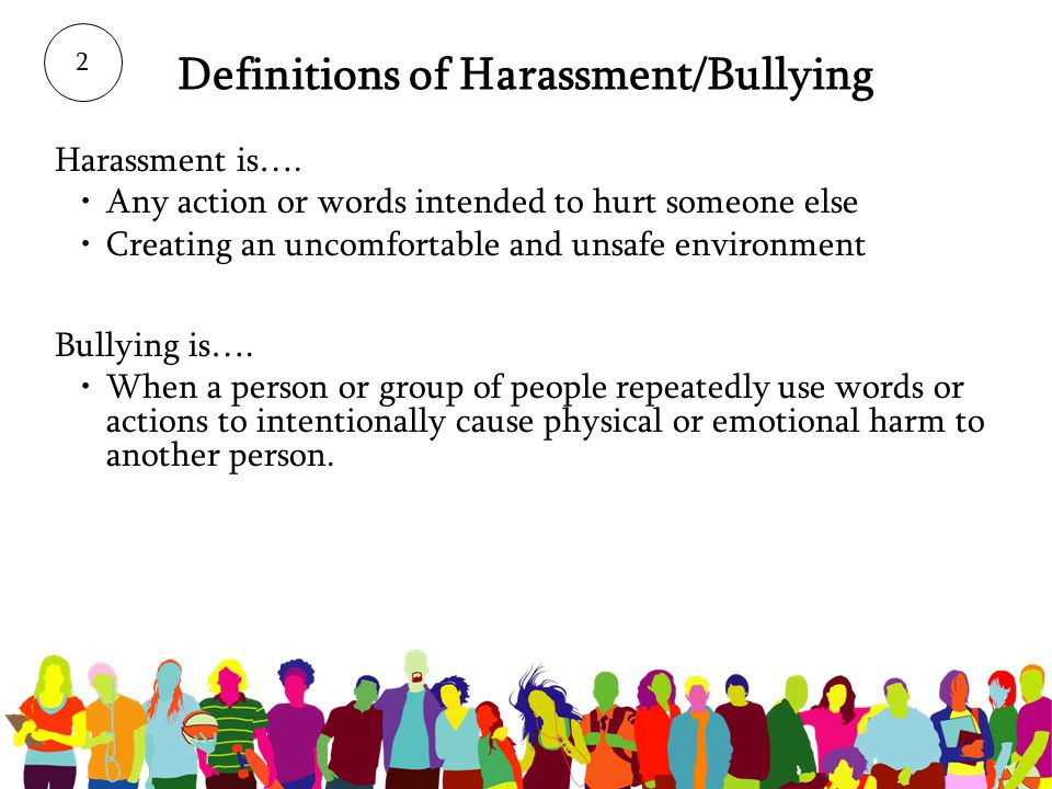 Definitions of Harassment/Bullying