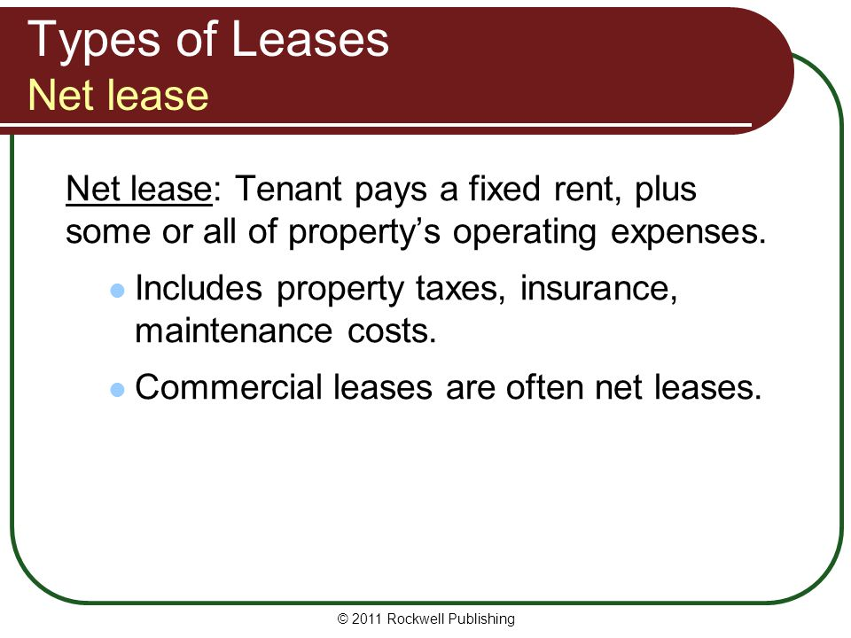 Types of Leases Net lease