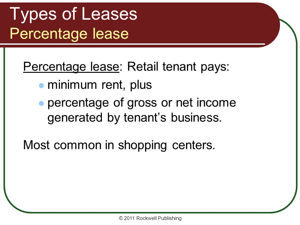 Types of Leases Percentage lease