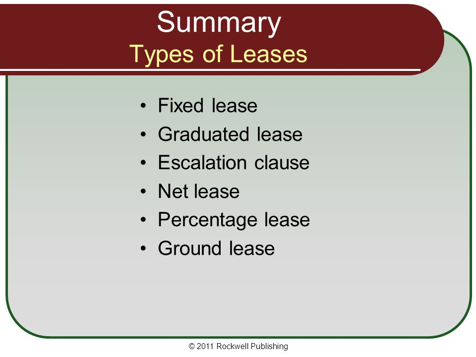 Summary Types of Leases