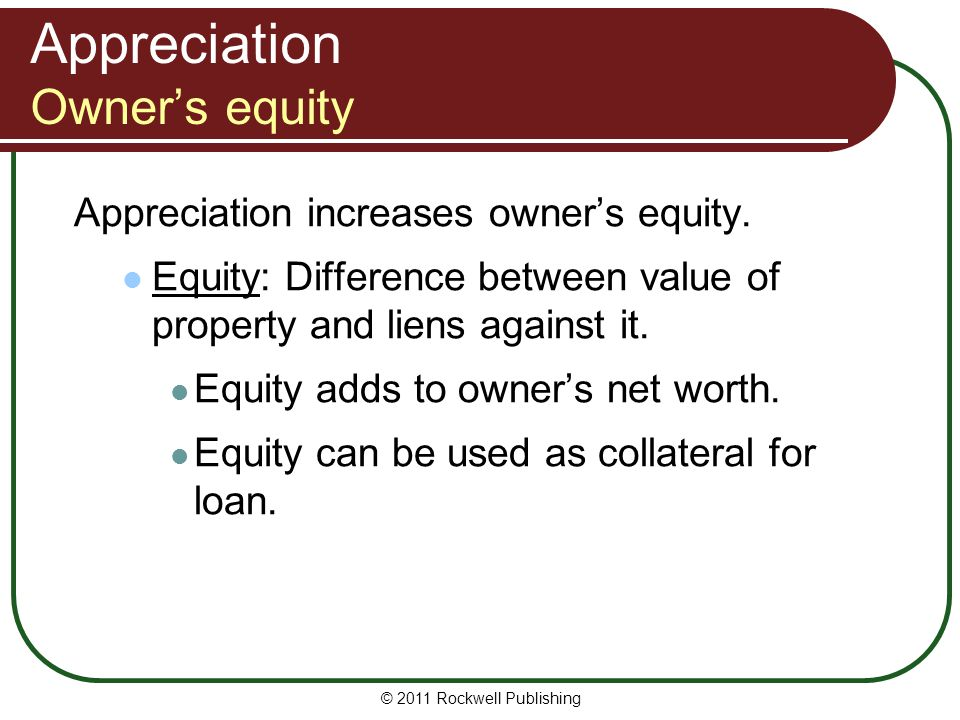 Appreciation Owner's equity
