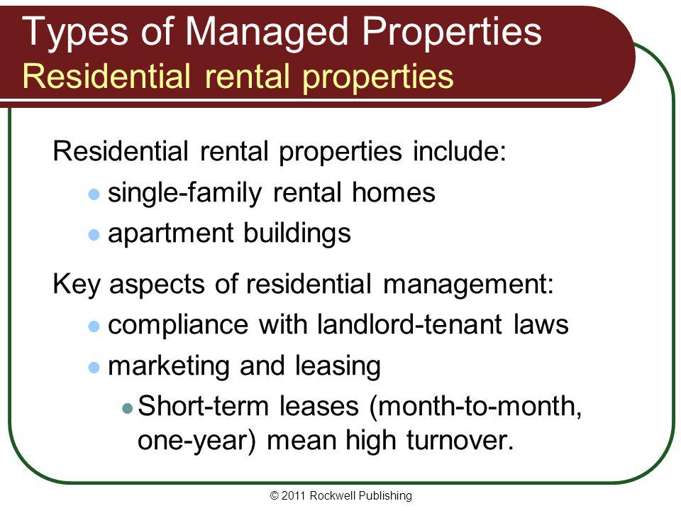 Types of Managed Properties Residential rental properties