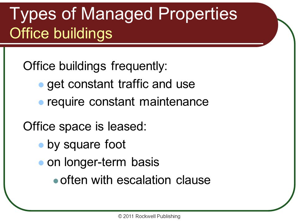 Types of Managed Properties Office buildings
