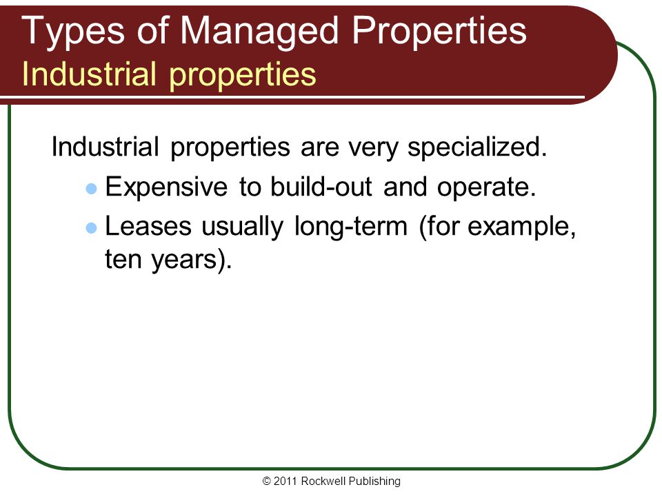 Types of Managed Properties Industrial properties