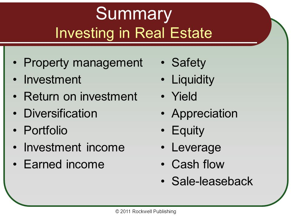 Summary Investing in Real Estate