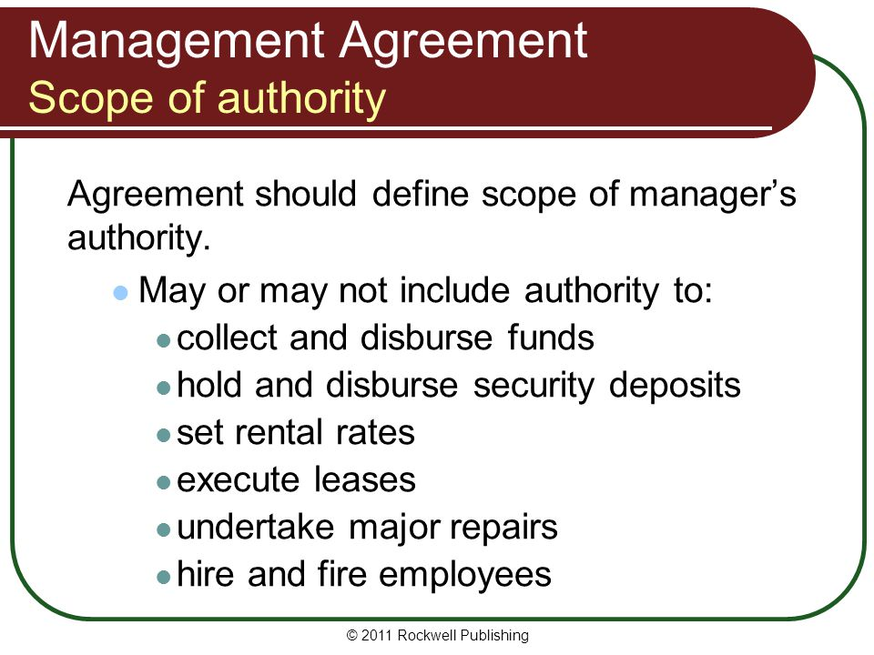 Management Agreement Scope of authority