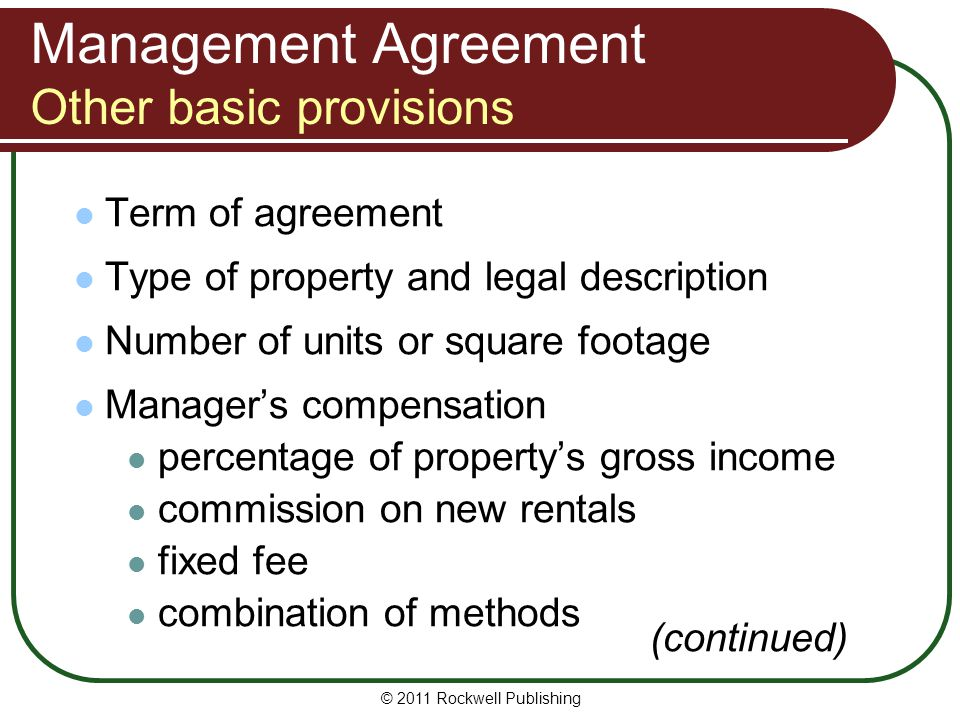 Management Agreement Other basic provisions