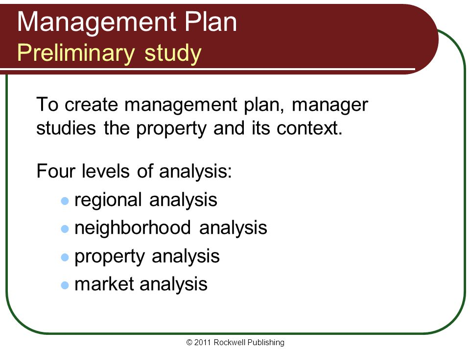 Management Plan Preliminary study