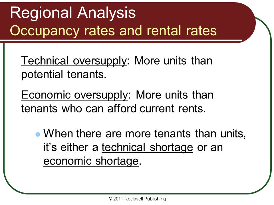 Regional Analysis Occupancy rates and rental rates