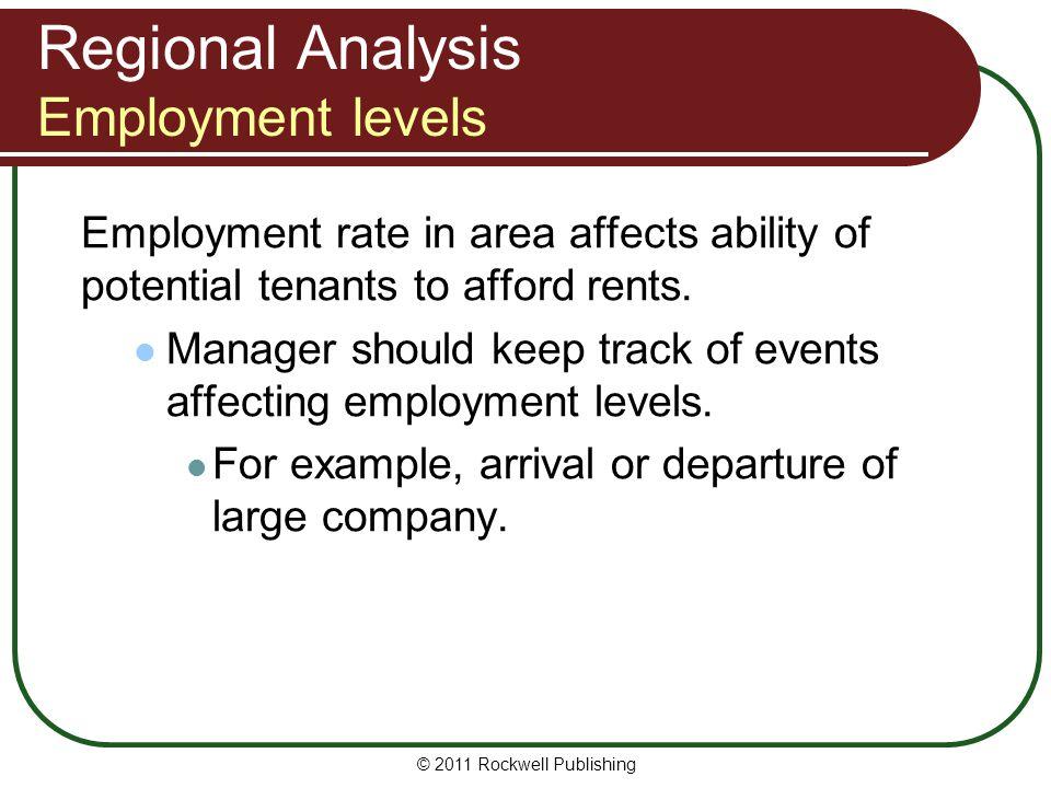 Regional Analysis Employment levels