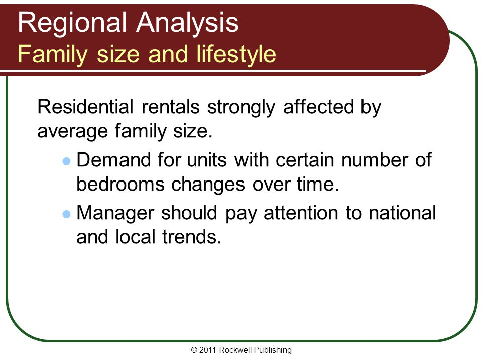Regional Analysis Family size and lifestyle