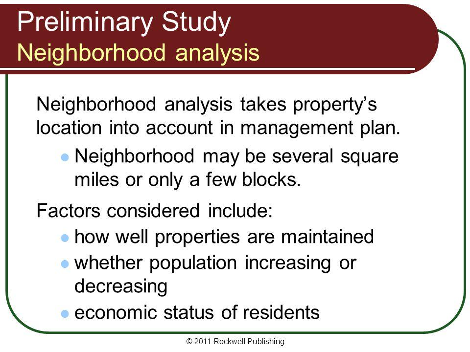 Preliminary Study Neighborhood analysis