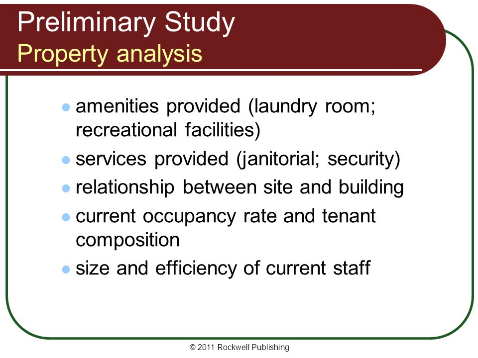Preliminary Study Property analysis