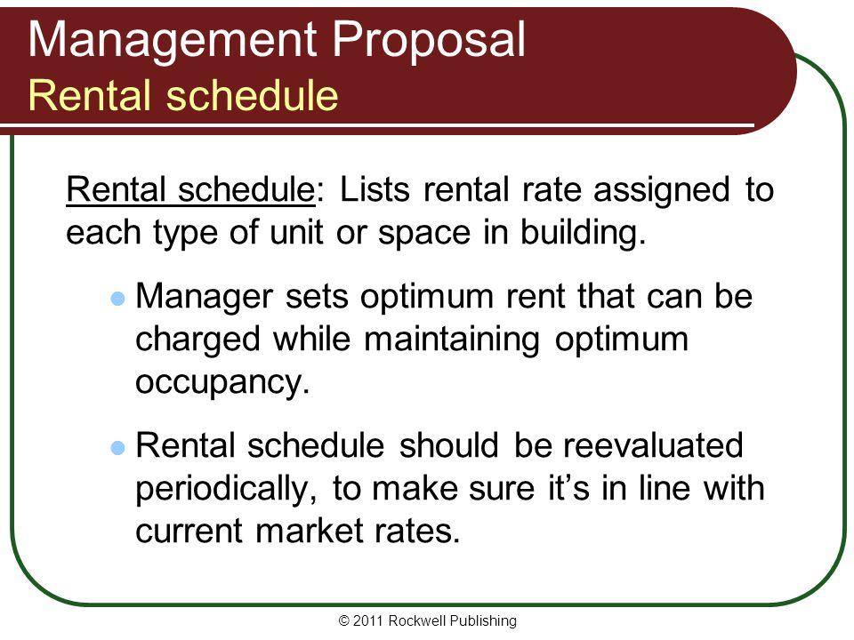 Management Proposal Rental schedule