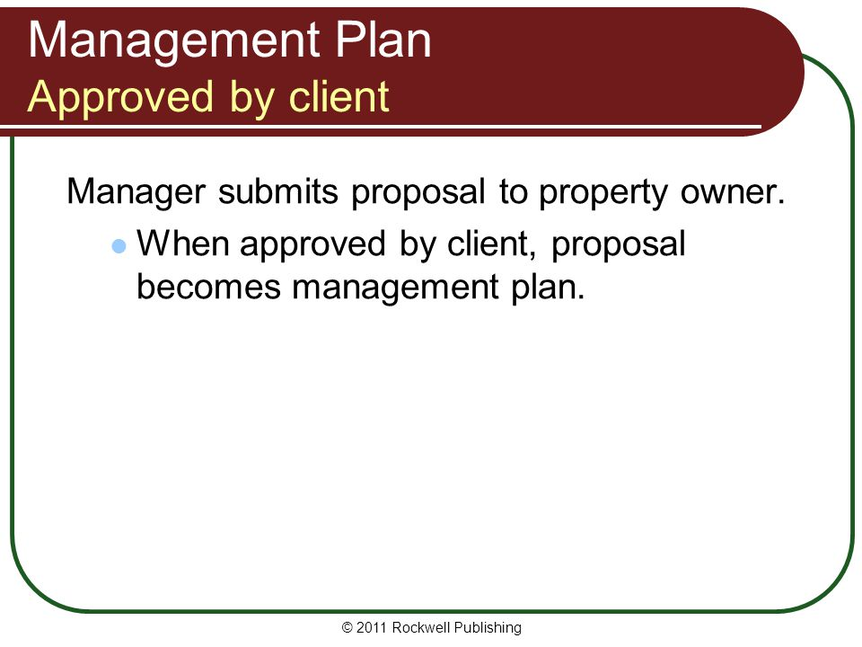 Management Plan Approved by client