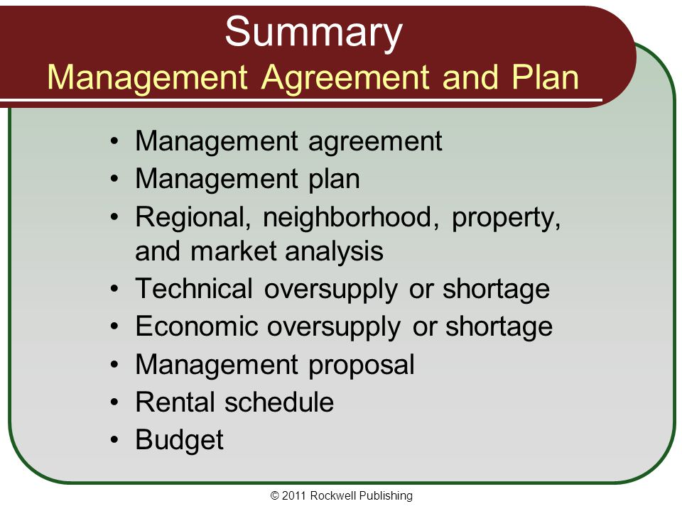Summary Management Agreement and Plan