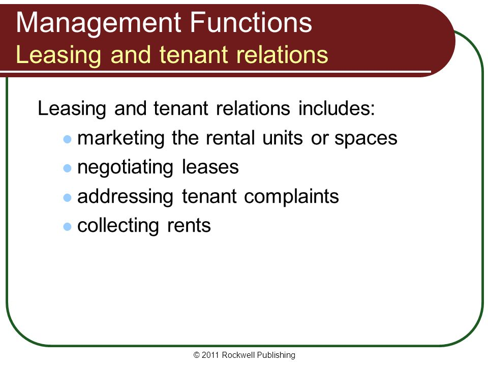 Management Functions Leasing and tenant relations