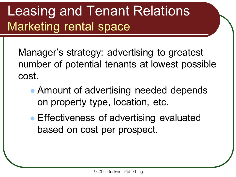 Leasing and Tenant Relations Marketing rental space