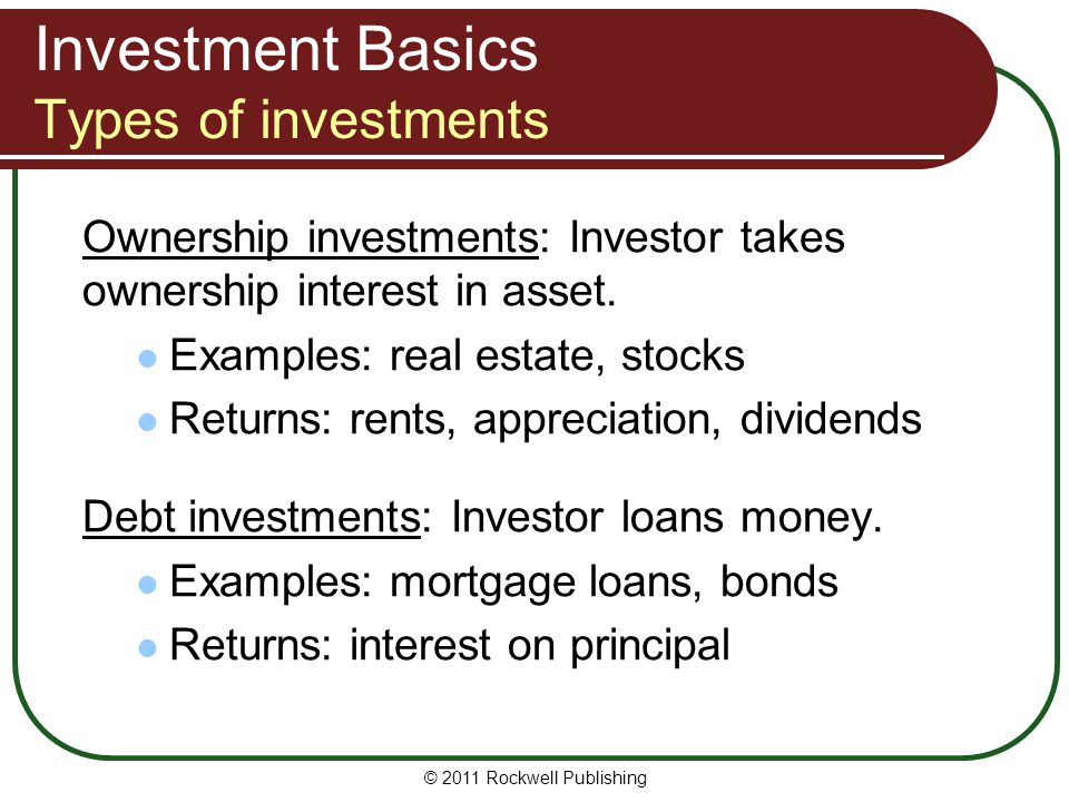Investment Basics Types of investments