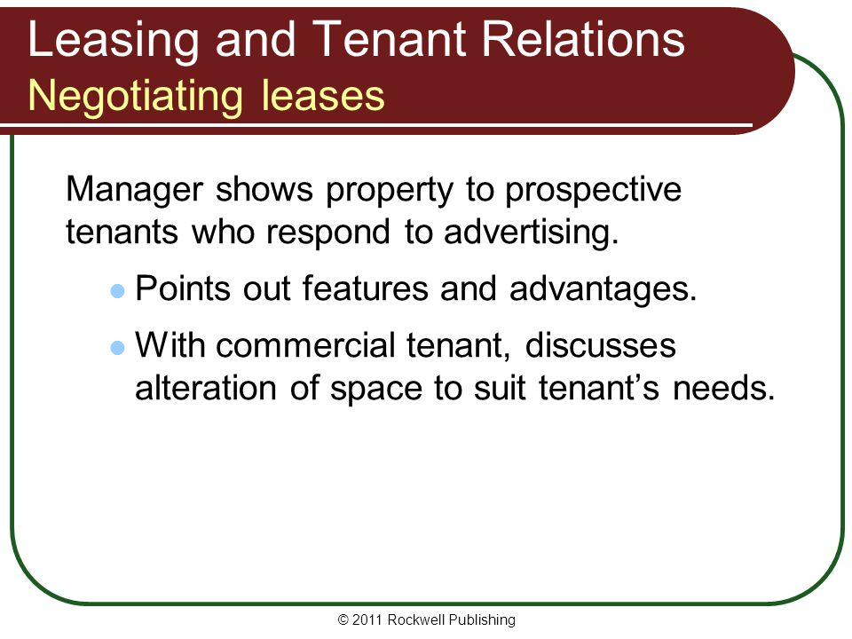 Leasing and Tenant Relations Negotiating leases