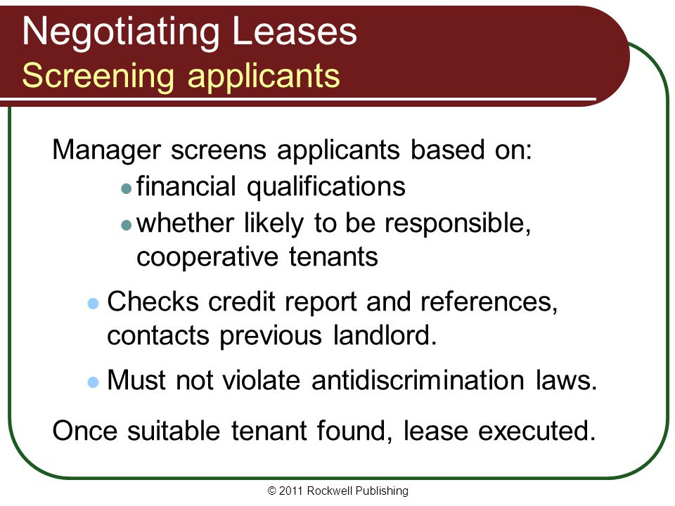 Negotiating Leases Screening applicants