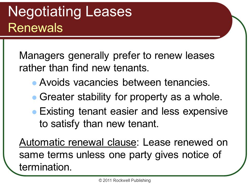 Negotiating Leases Renewals