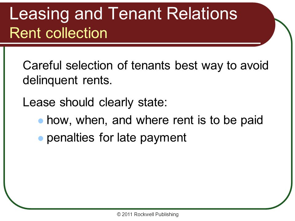 Leasing and Tenant Relations Rent collection