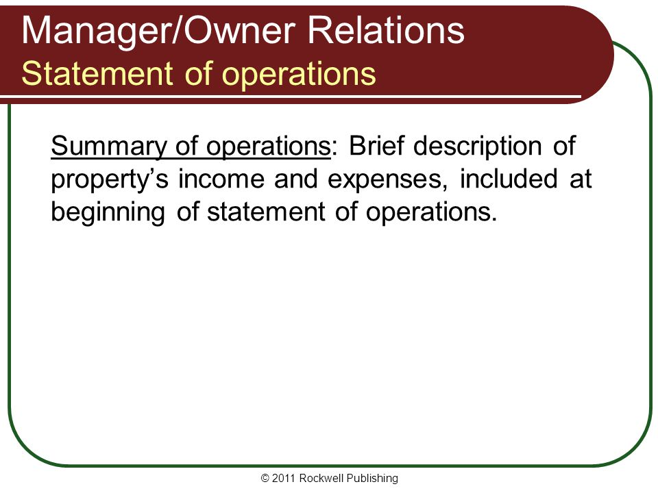 Manager/Owner Relations Statement of operations