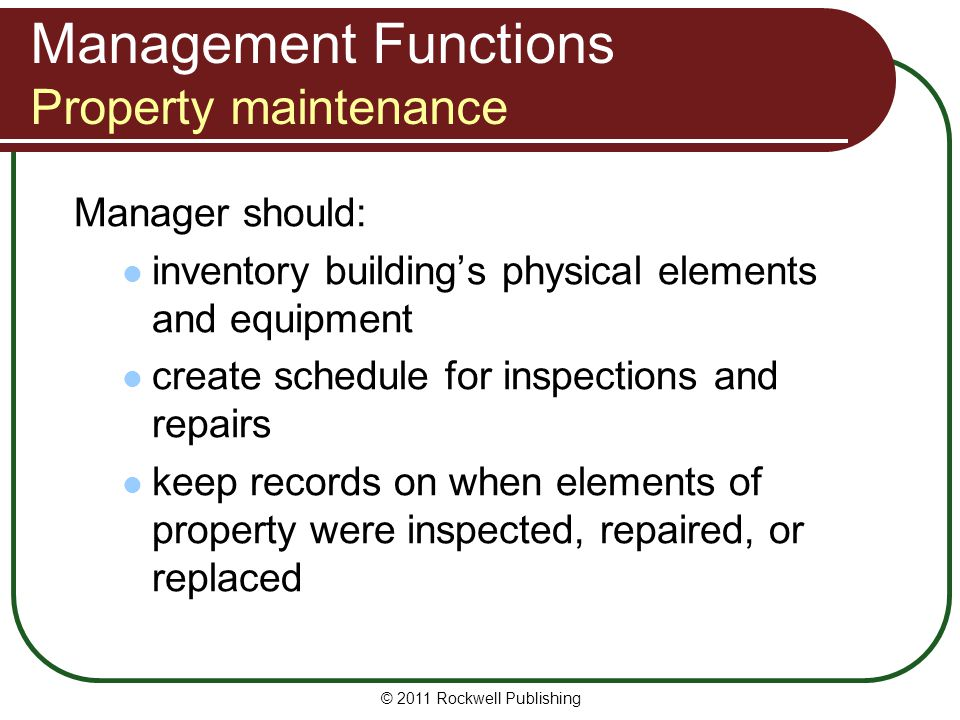Management Functions Property maintenance