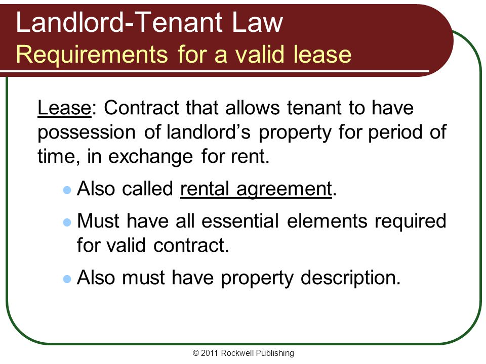 Landlord-Tenant Law Requirements for a valid lease