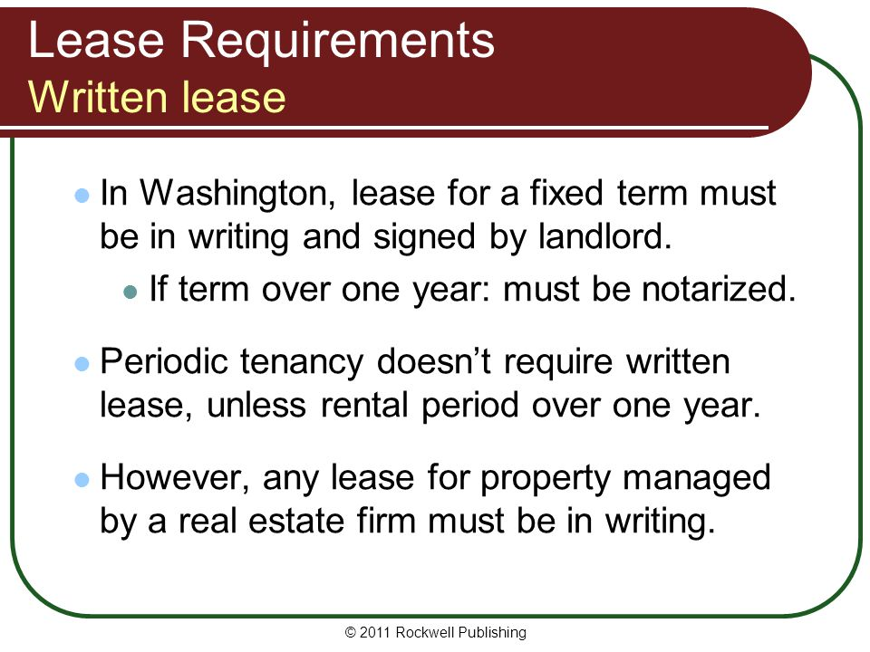 Lease Requirements Written lease