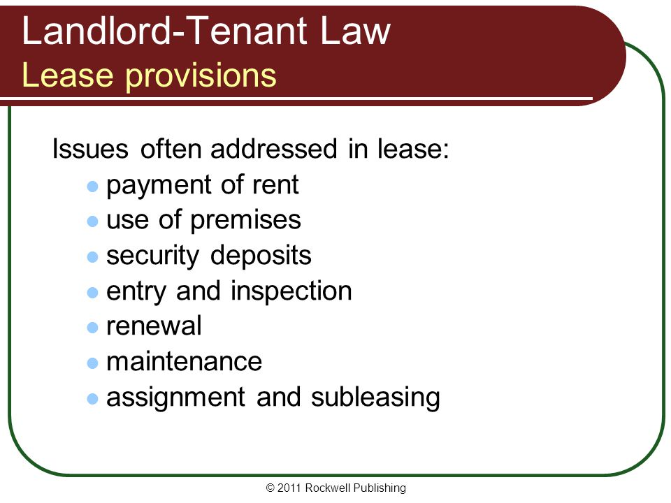 Landlord-Tenant Law Lease provisions