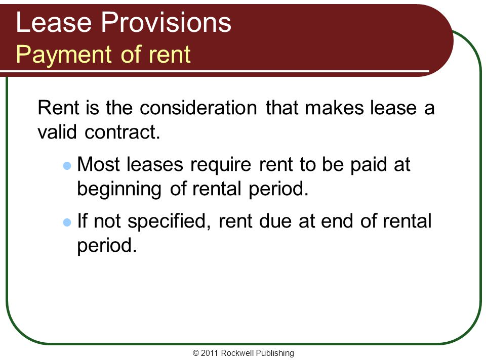 Lease Provisions Payment of rent