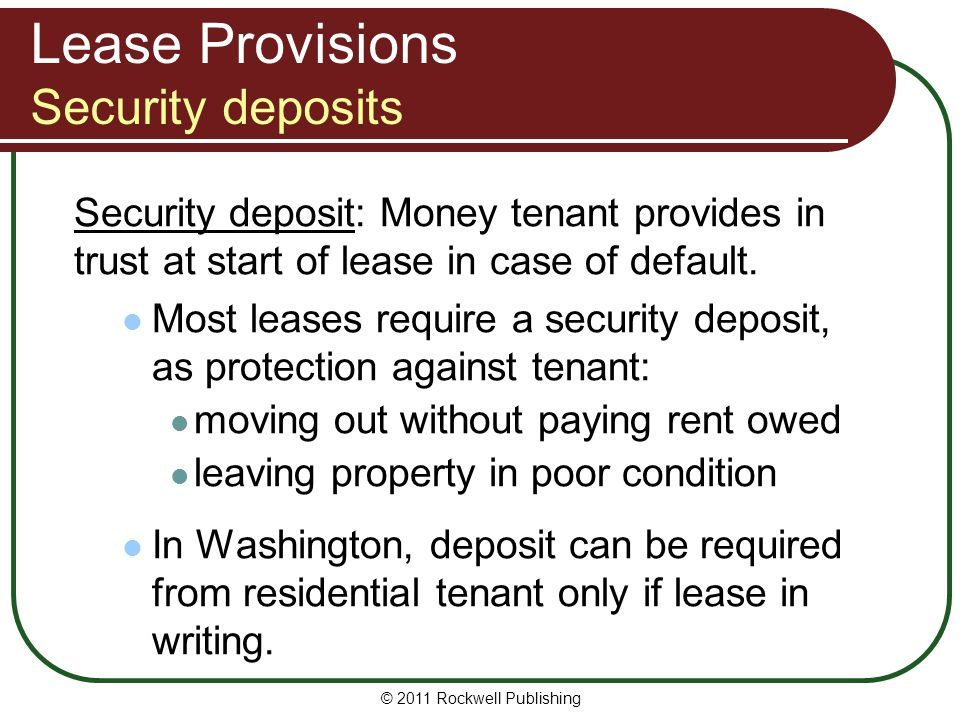 Lease Provisions Security deposits