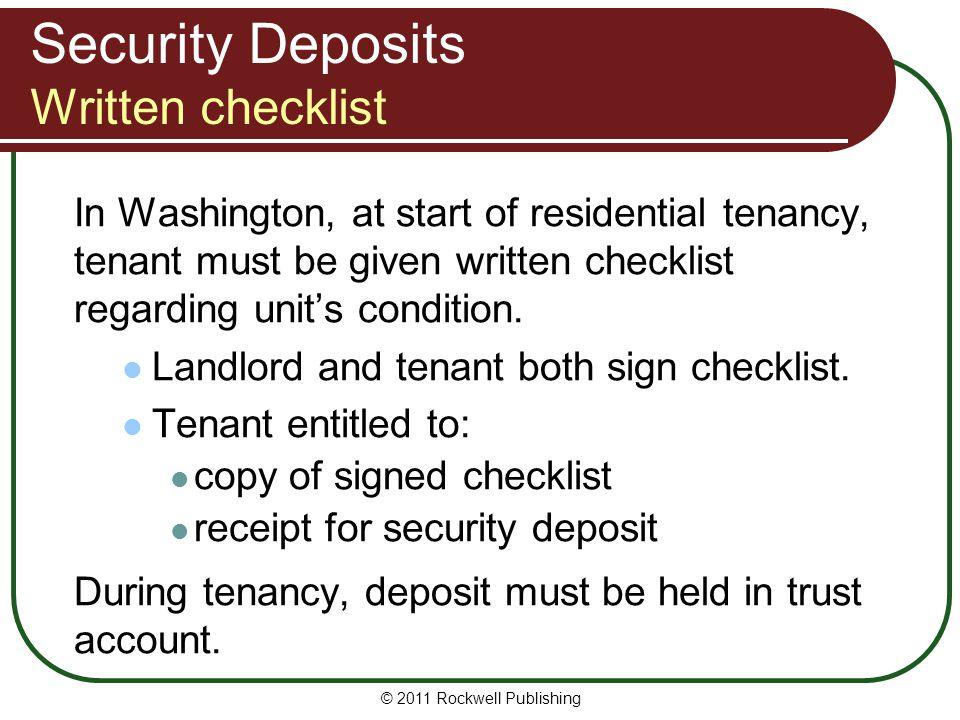 Security Deposits Written checklist
