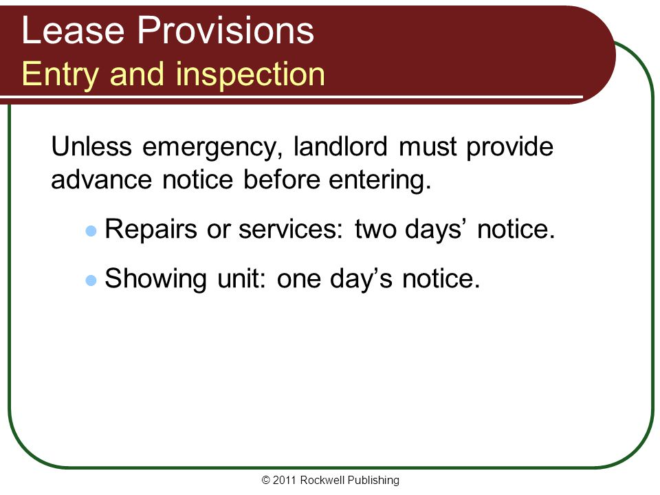 Lease Provisions Entry and inspection