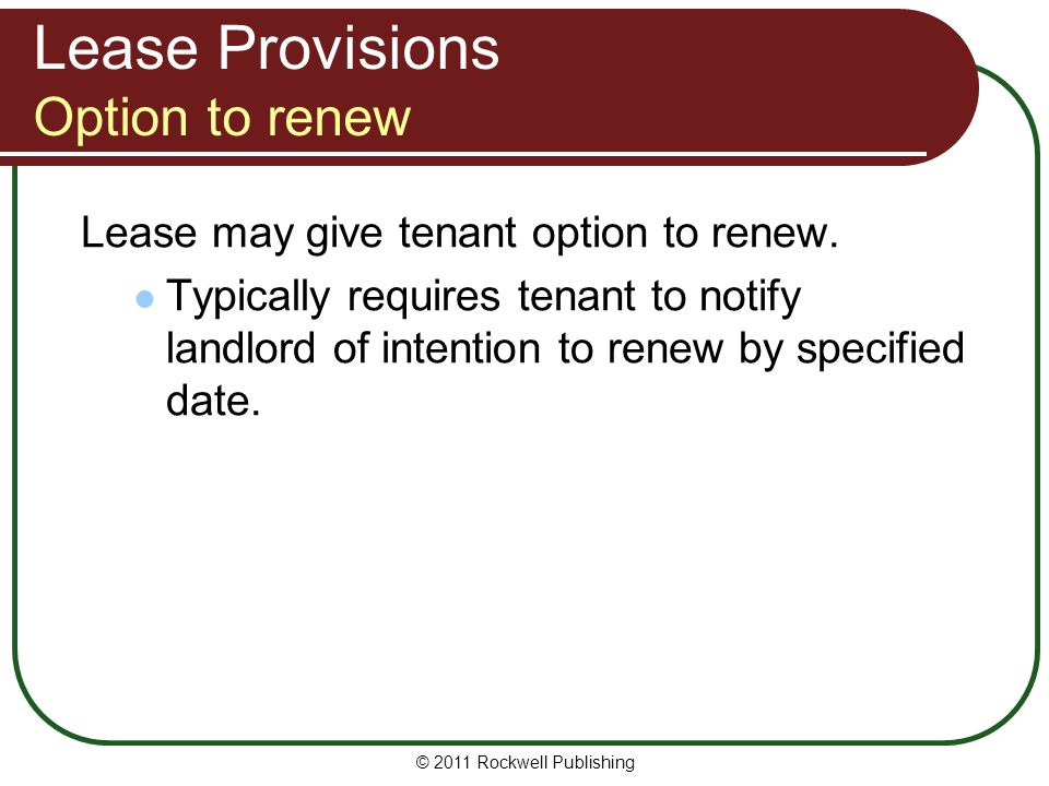 Lease Provisions Option to renew