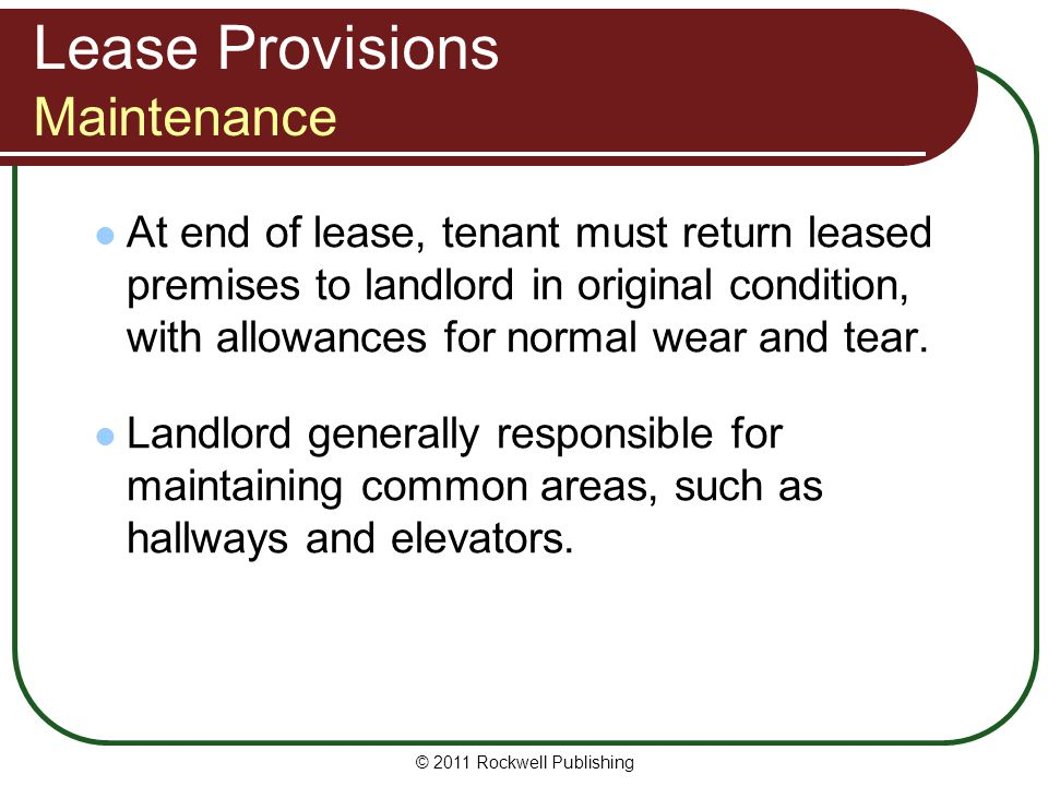 Lease Provisions Maintenance
