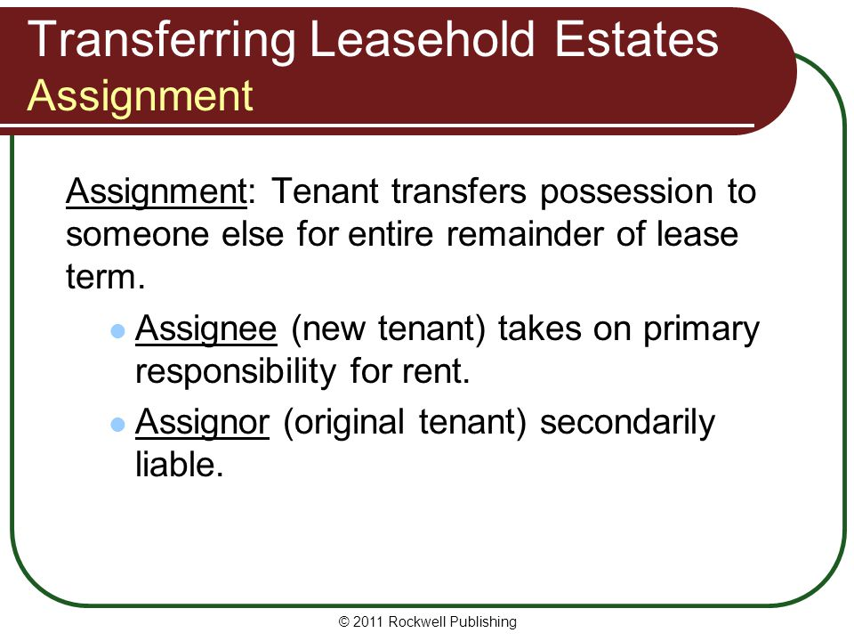 Transferring Leasehold Estates Assignment