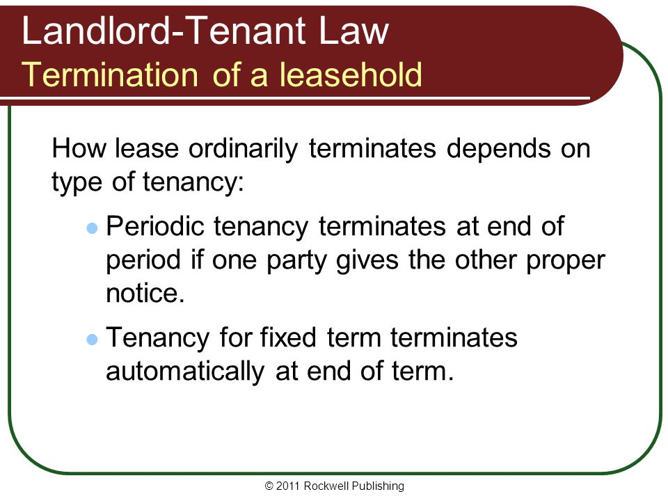 Landlord-Tenant Law Termination of a leasehold