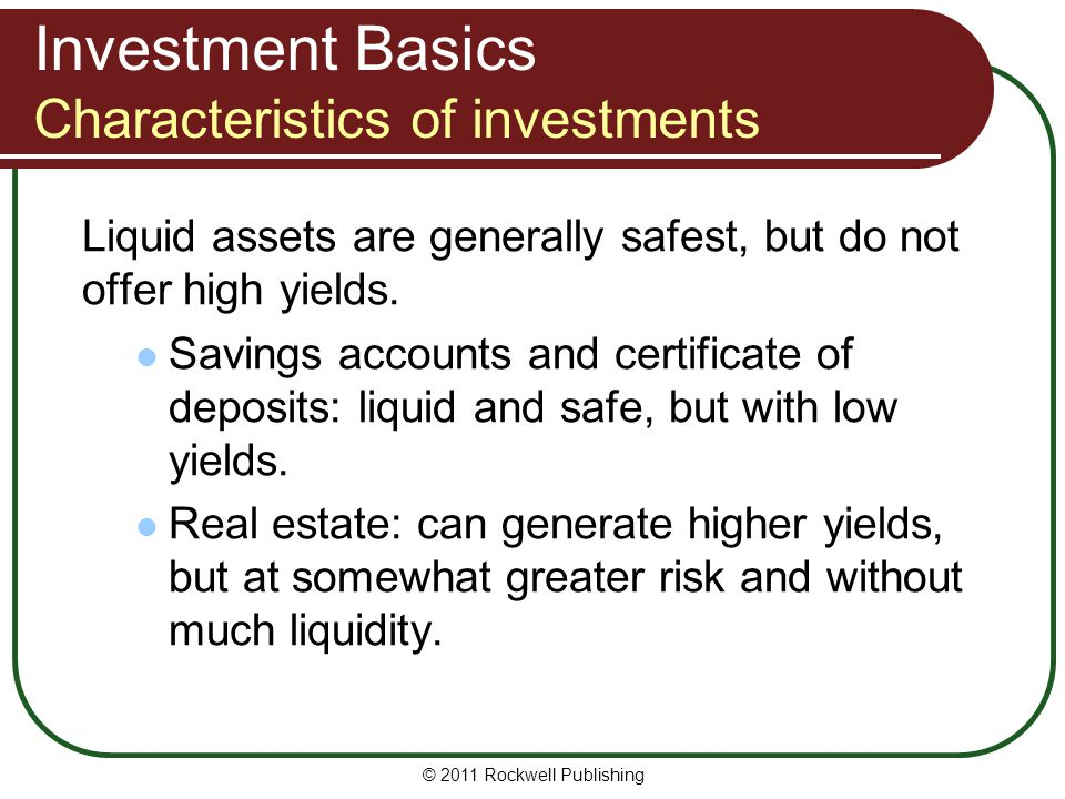 Investment Basics Characteristics of investments