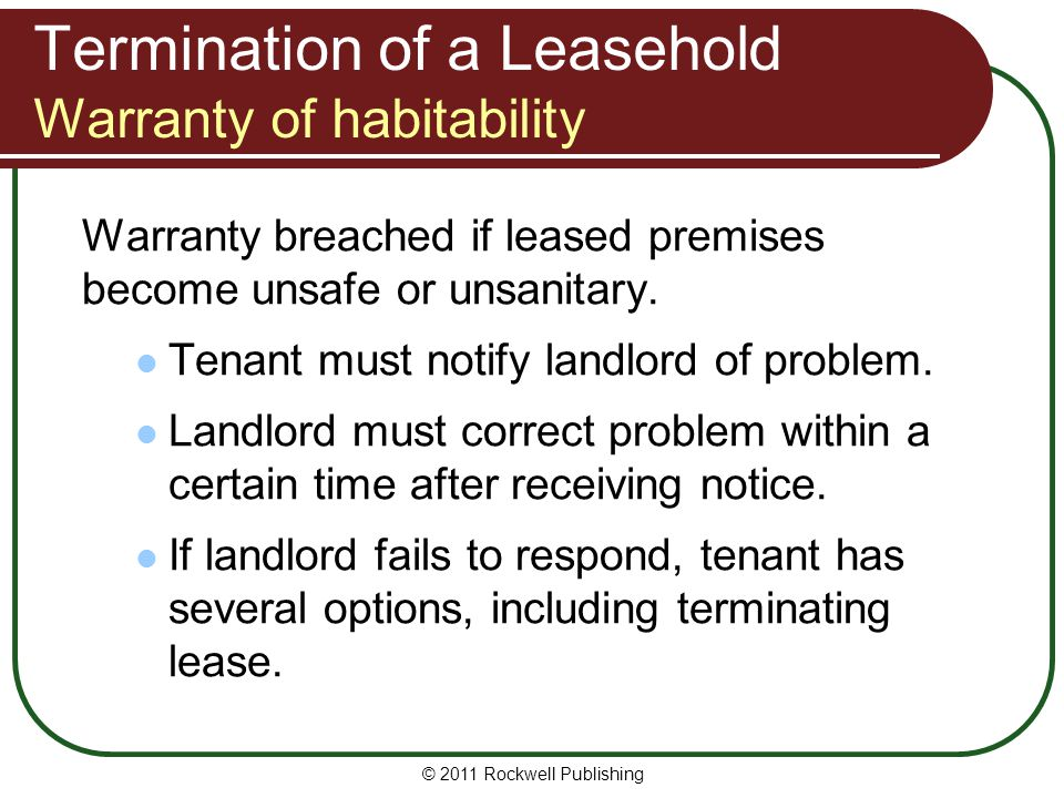 Termination of a Leasehold Warranty of habitability