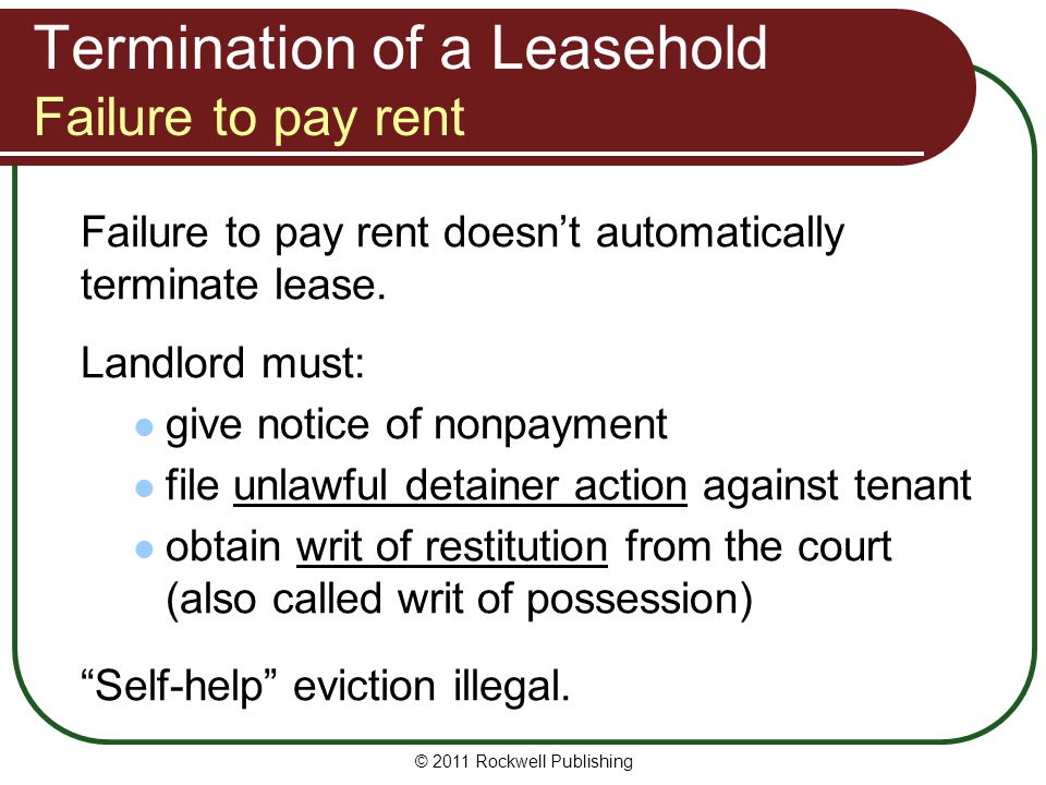 Termination of a Leasehold Failure to pay rent
