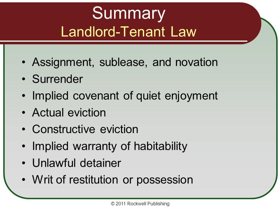 Summary Landlord-Tenant Law