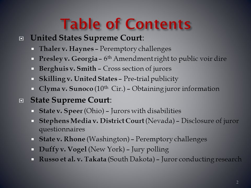 Table of Contents United States Supreme Court: State Supreme Court: