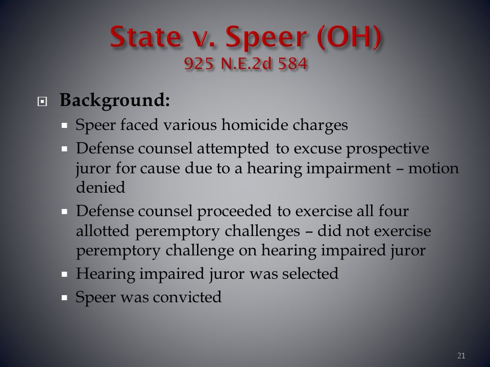 State v. Speer (OH) 925 N.E.2d 584 Background:
