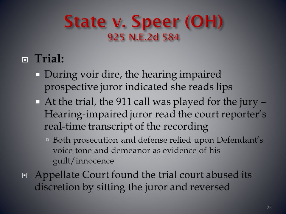 State v. Speer (OH) 925 N.E.2d 584 Trial: