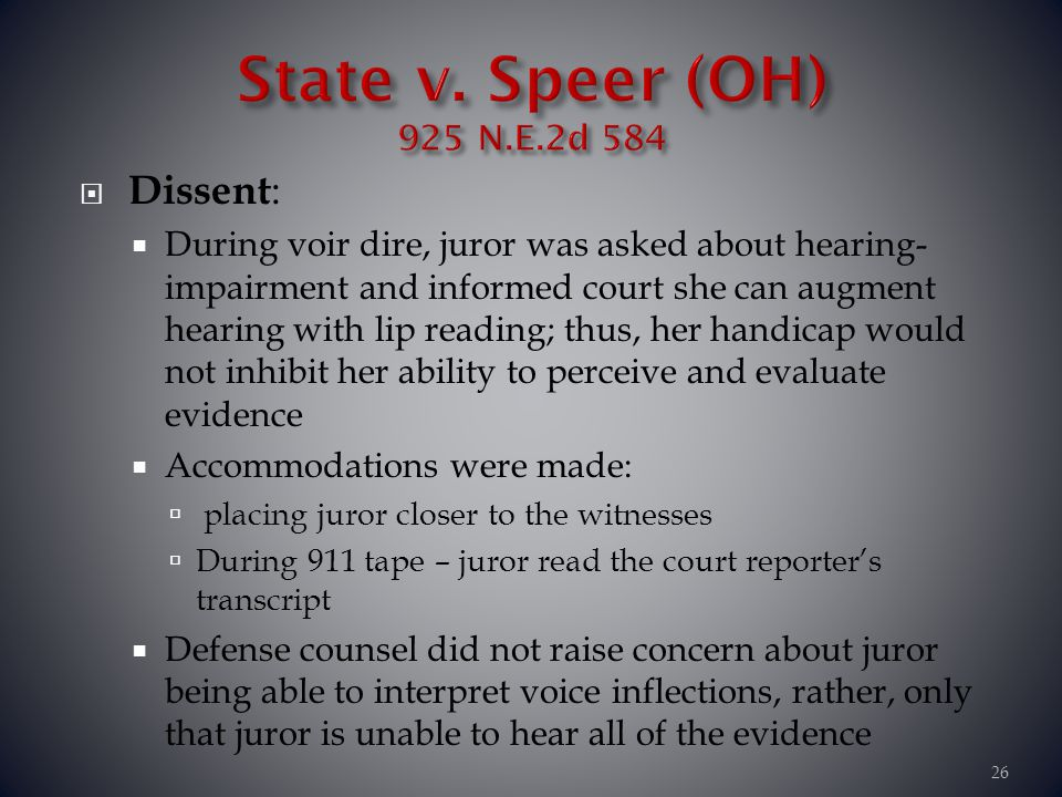 State v. Speer (OH) 925 N.E.2d 584 Dissent: