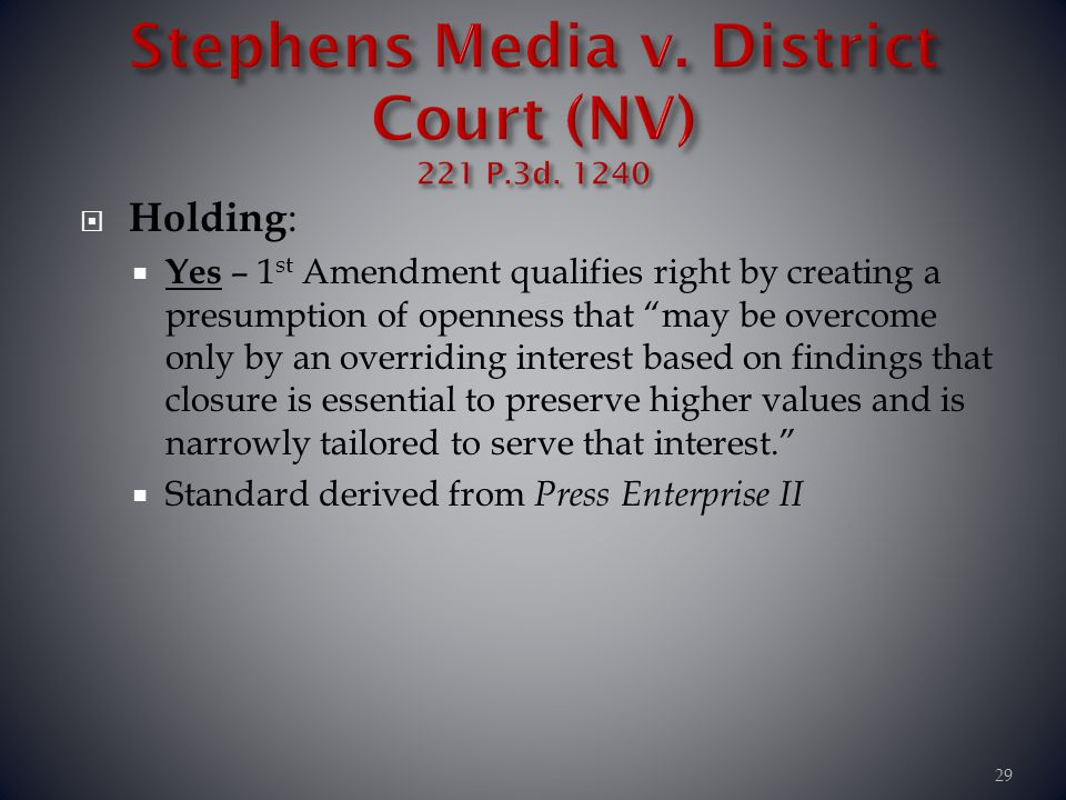 Stephens Media v. District Court (NV) 221 P.3d. 1240